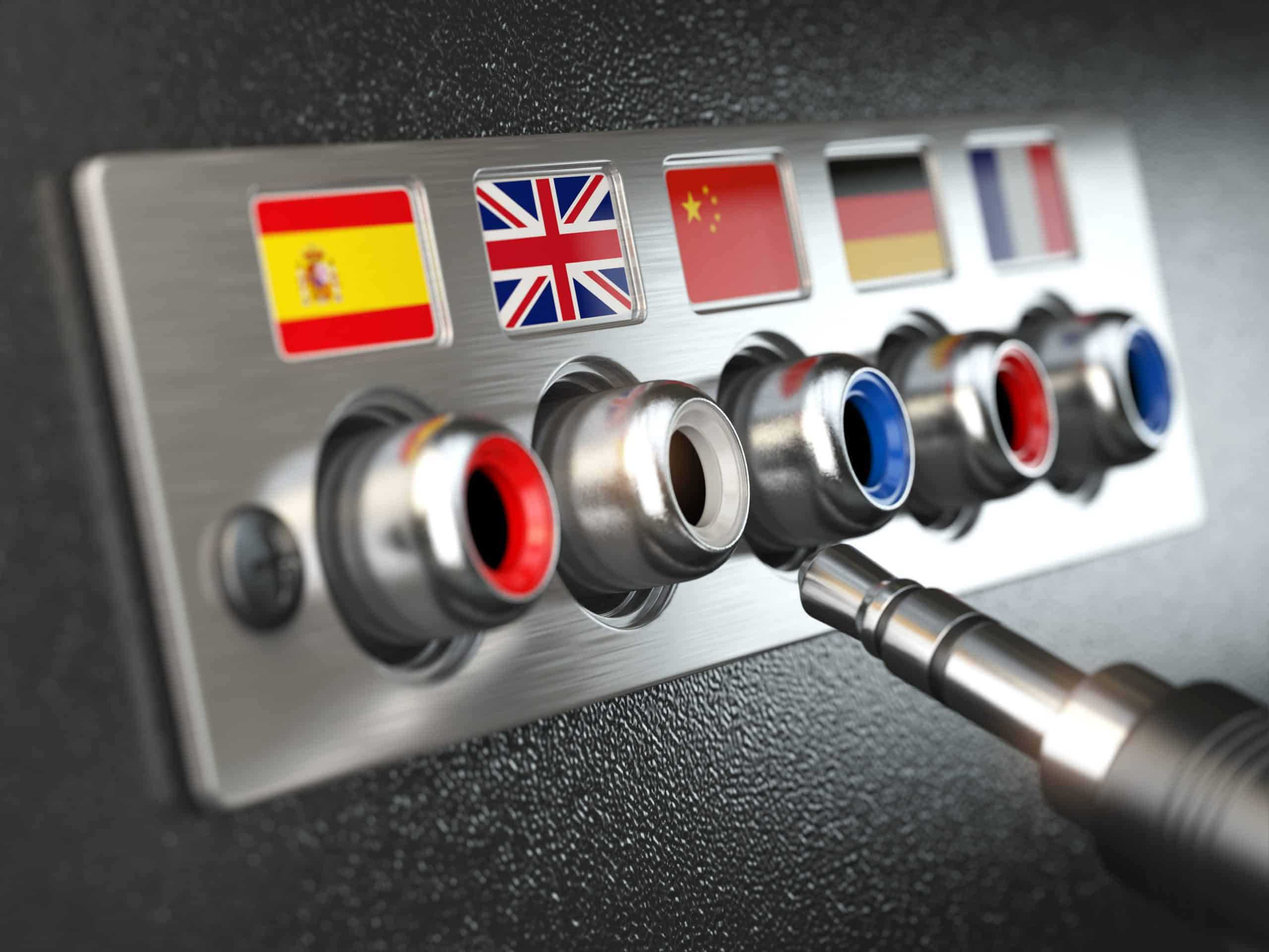 Select language. Learning, translate languages or audio guide concept. Audio  input output control panel with flags and plug.  3d illustration