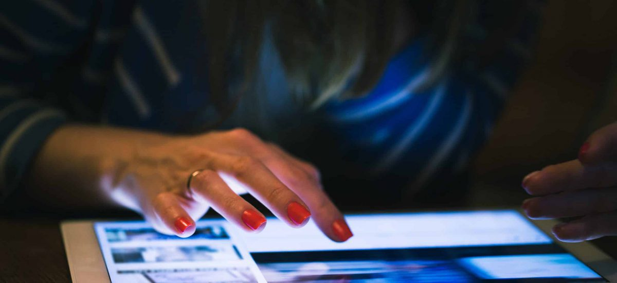 Close-up tablet computer in a woman hand
