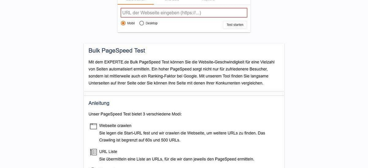 experte.de bulk pagespeed test