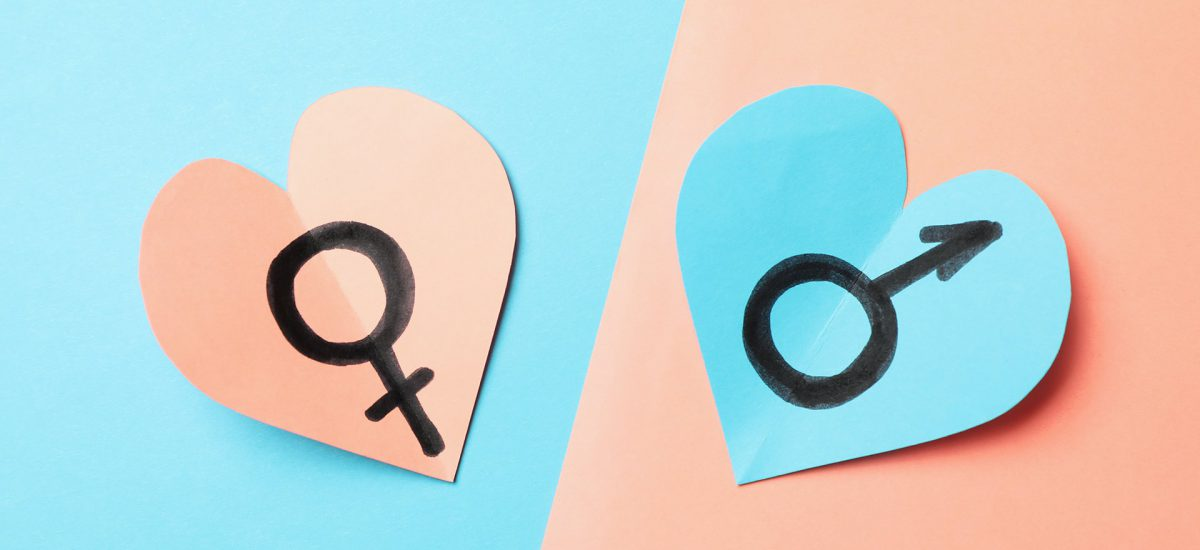Hearts with male and female symbols on two tone background